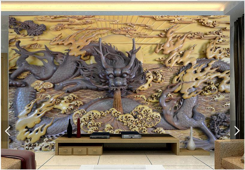 Aliexpress Com Buy Large Custom Mural Wallpapers Living: 3D Photo Wallpaper Custom 3d Wall Mural Wallpaper Dragon