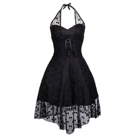 Lace Dress Evening Party Women New Black Summer Casual Elegant Retro Plus Size Dresses Beach Halter