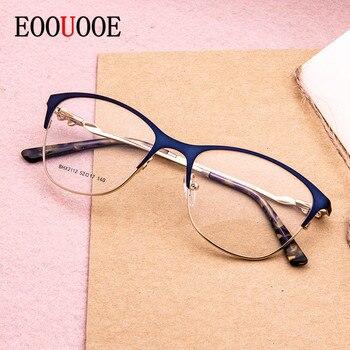 34773c5808 Gafas de ojo de gato marco aleación Semi-Rimless prescripción montatura  occhiali donna lente transparente miopía mujer gafas ópticas