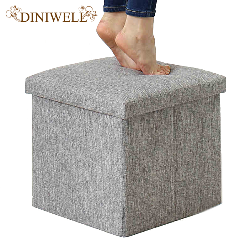 folding chair storage box. square linen folding home storage box clothing organizer toy chair stool seat(china (