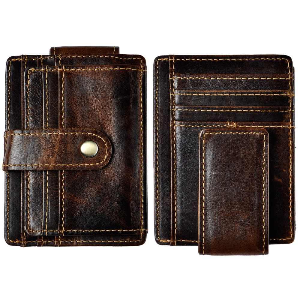 男性オリジナルレザーデザインファッション旅行スリム財布フロントポケット磁気大容量マネークリップカードケース用男性1025c