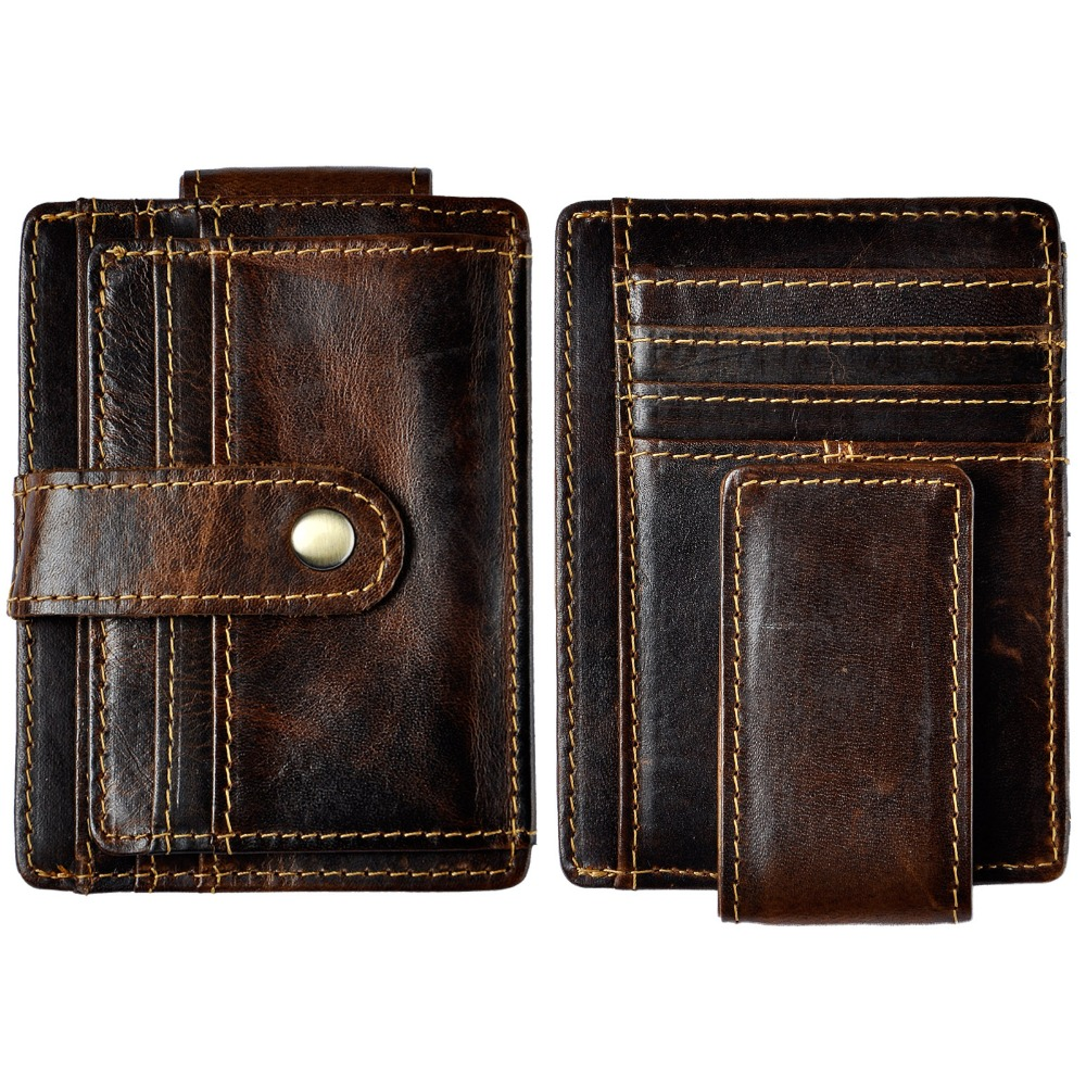 Male Original Leather Design Fashion Travel Slim Wallet Front Pocket Magnetic Large Capacity Money Clip Card Case Men 1025-c