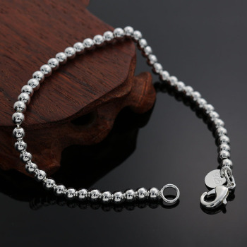 Beautiful fashion Elegant Gold color silver color 4MM beads chain women lady cute Bracelet high quality Gorgeous jewelry H198