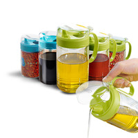 Olive Oil Dispenser Glass Bottle, Leakproof Cooking Oil Storage Container, Non Drip Pour Spout,Non Slip Handle,Perfects Kitchen