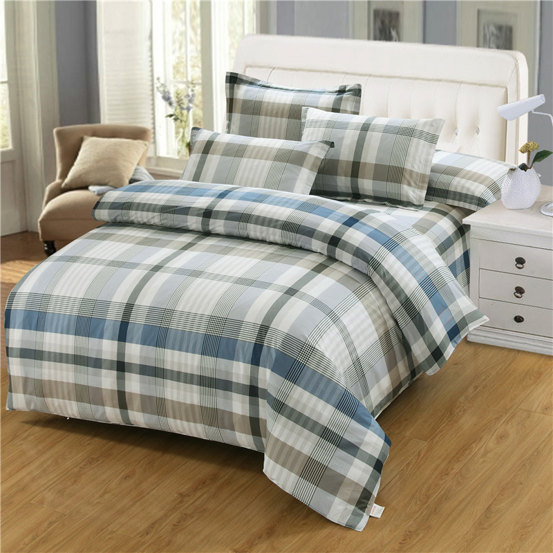 Blue and white plaid Bedding Set Bed Linen Set soft Bed Sheet Duvet Cover Fashion Good quality Urban style Home Textile Blue and white plaid Bedding Set Bed Linen Set soft Bed Sheet Duvet Cover Fashion Good quality Urban style Home Textile