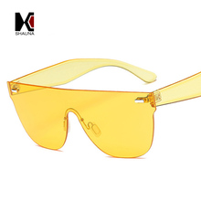 SHAUNA Flat Top  Candy Color Integrated Lens Women Goggle Sunglasses Nail Decoration Men Rimless Yellow Tinted Glasses