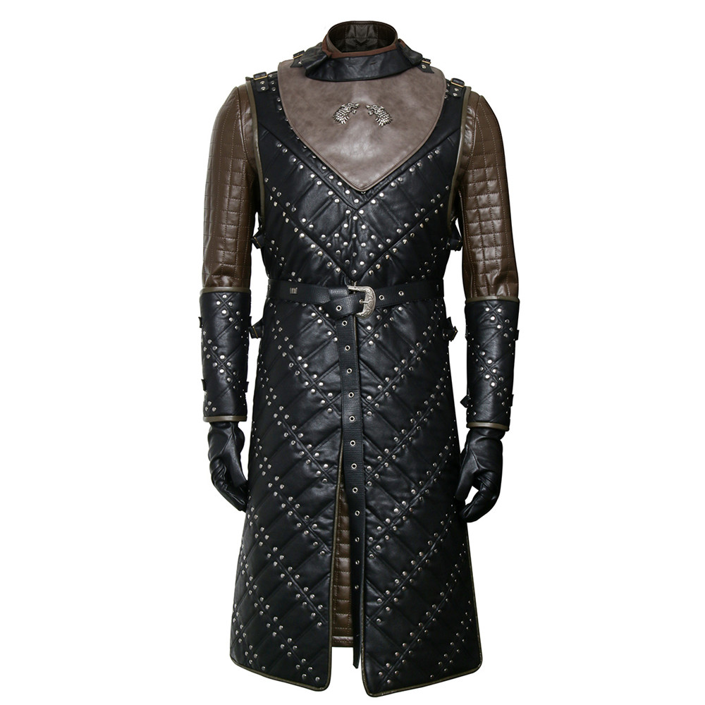 Game of Thrones Season 8 Jon Snow Knight Cosplay Costume Leather Battle Armor Suit Men Halloween Cloak Outfit Set