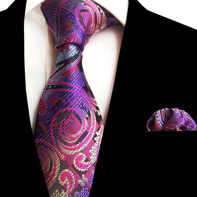 Luxury Classic Men's 8CM Silk Necktie Pocket Square Tie Set Floral Neckties Handkerchief Lot For Suit Business Wedding Party