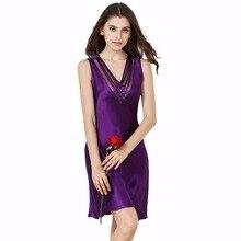Одноцветное Цвет 100% шелк атлас Для женщин Ночная рубашка с полым Кружево V-вырез горловины элегантная рубашка Ночная сорочка Комбинации для женщин sp0072