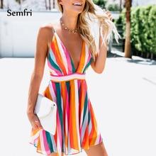 Semfri Open Back V Neck Dress Sexy Women Dress Off Shoulder Mini Dress Summer Striped Boho Party Dresses Vestido De Festa open shoulder mini vertical striped dress