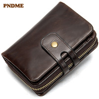 PNDME first layer leather Men's wallet casual vintage genuine leather coin purse multi function card clutch ID Holders