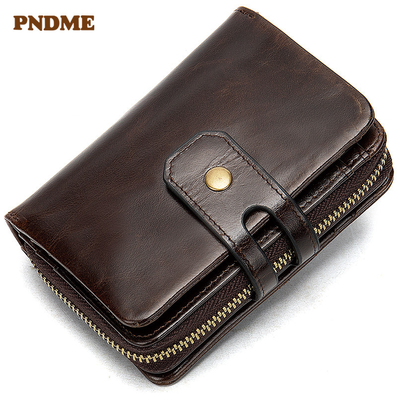 PNDME first layer leather men's wallet casual vintage genuine leather coin purse multi function cowhide card clutch ID Holders