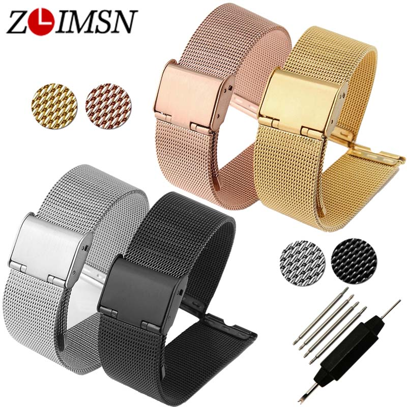 ZLIMSN 12 14 16 18 20 22 24mm Stainless Steel Watch Band Strap Watchbands Replacement Silver Black Rose Gold Bracelets Relojes цена