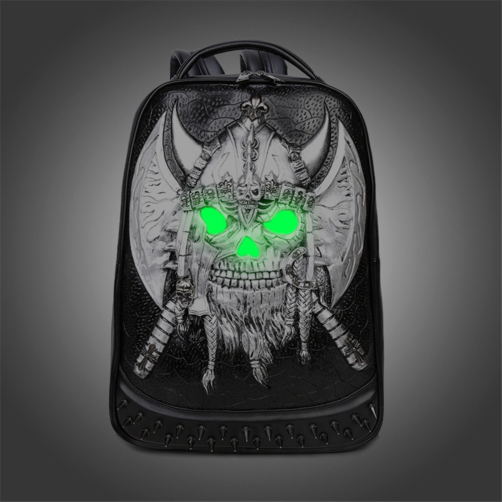 Pirate Pattern Backpack with Axe Design Schoolbag Cool Big PU Daypack pirate attack