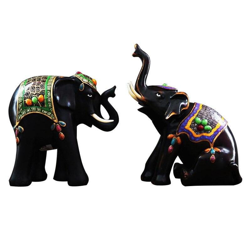 Asie du sud-est chanceux éléphants Miniatures ornements Antique éléphant Figurines résine décor ameublement Articles cadeaux décor à la maison