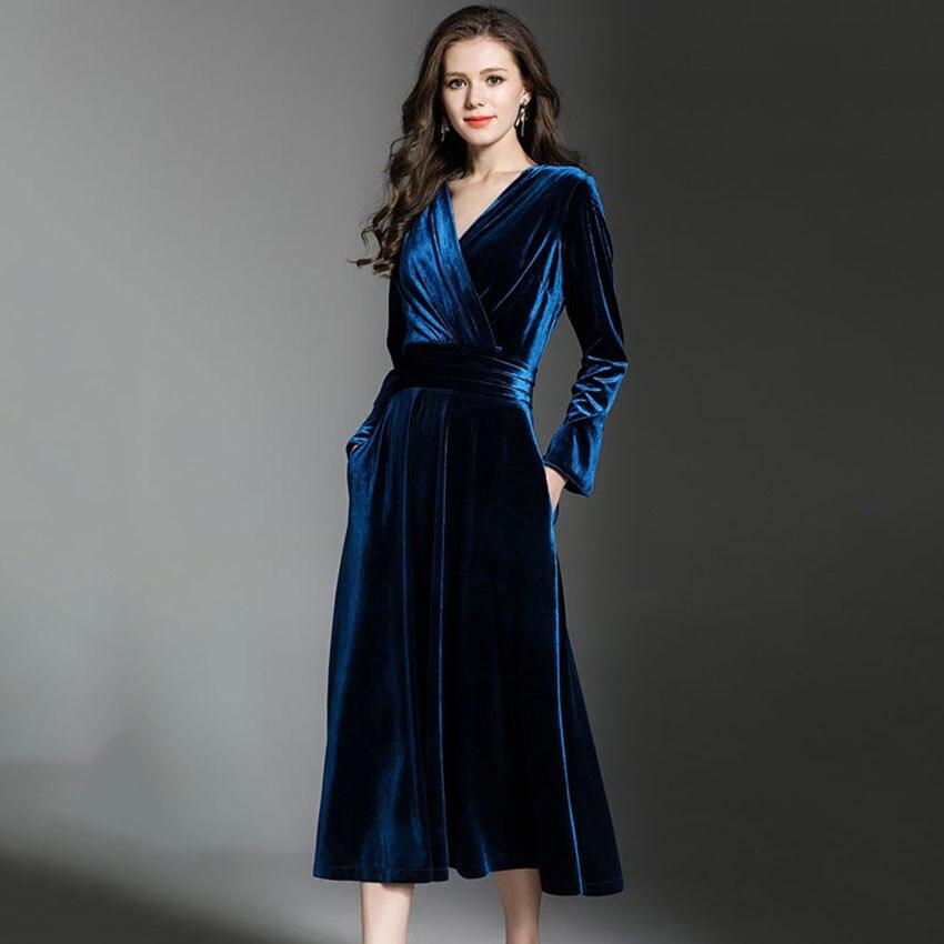 23899dc8e 2018 otoño invierno rosa azul real Vestido de terciopelo mujeres cuello en V  Vintage Sexy vestidos de fiesta de noche largos vestidos Maxi Vestido largo  ...