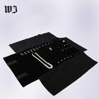 Portable Black Velvet Jewelry Roll Combo Travel Jewelry Display Roll For Rings Earrings Chains Bracelet Organizer