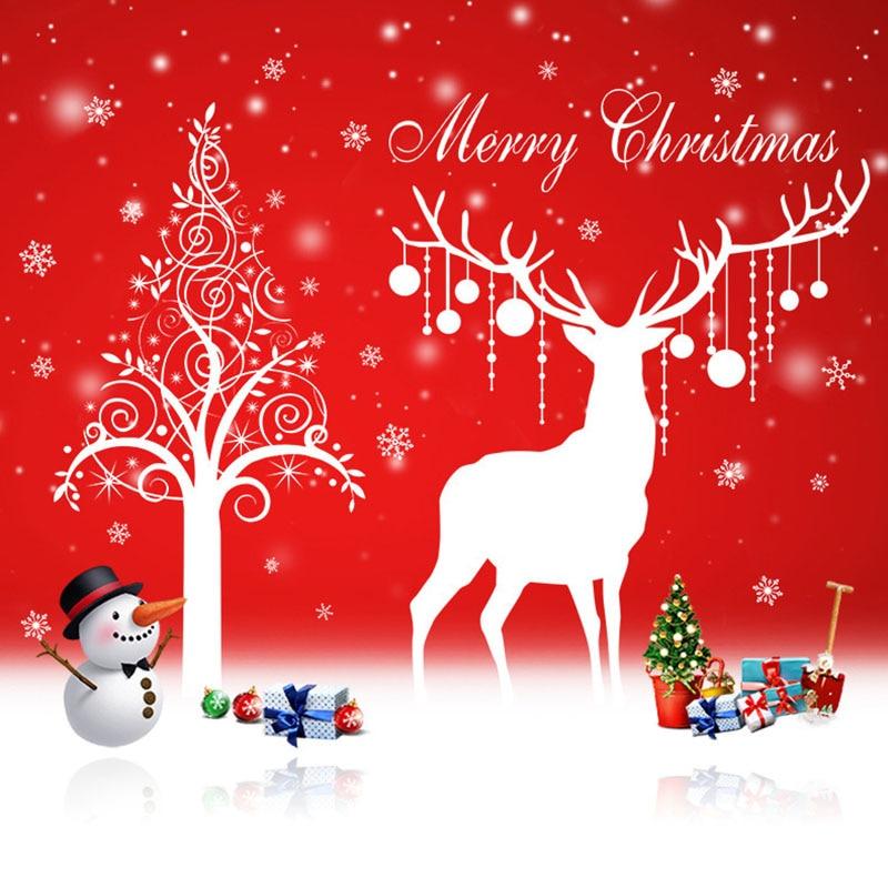 Merry Christmas Deer PVC Wall Art Removable Home Window Wall Sticker Decal Decor