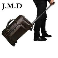 J. м. D Новое поступление 2017 года 100% Для мужчин корова кожаная сумка Messenger Сумки тележка Дорожные сумки 7317