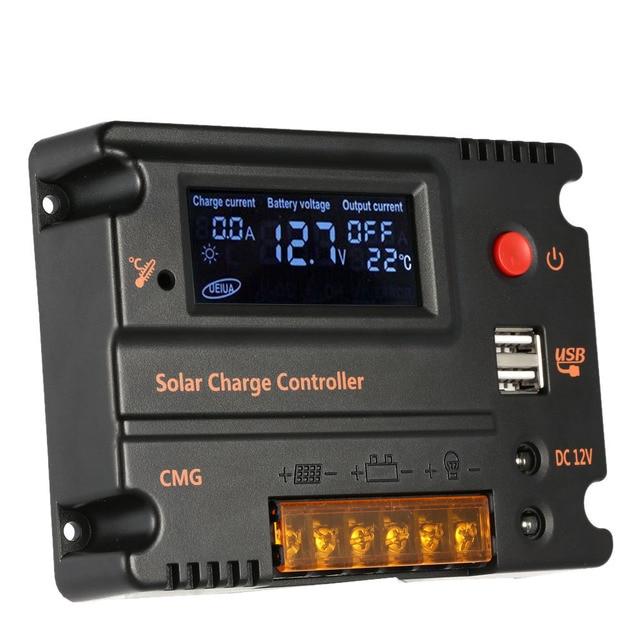 Контроллер заряда солнечной батареи 20 А, регулятор батареи солнечной панели, автоматический переключатель, контроллер солнечной энергии, температурная компенсация 12 В/24 В