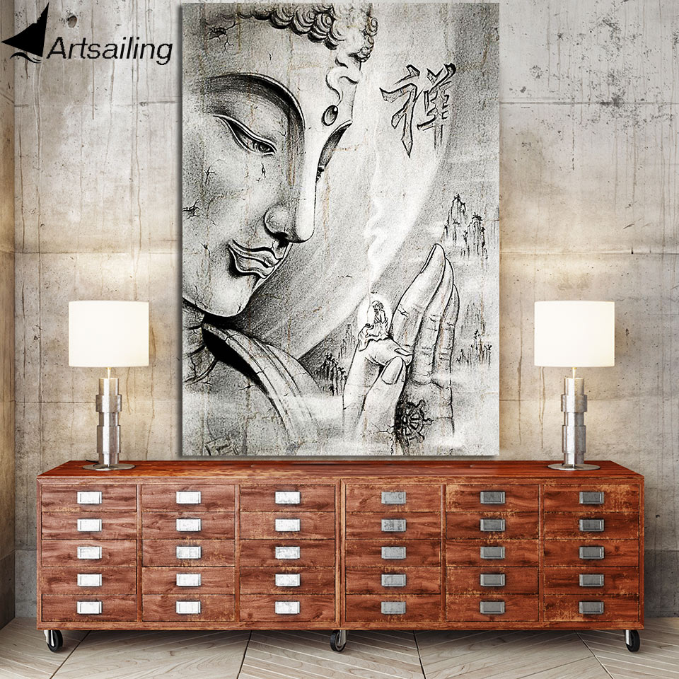 Artsailing  1 Piece Buddha Canvas Painting Zen Wall Pictures for Living Room Big Triptych zen calligraphy Posters and Prints