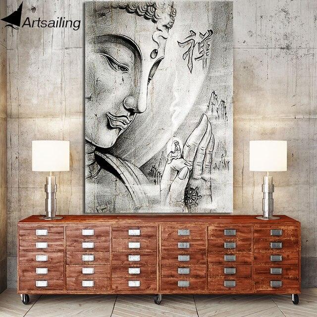 Art voile 1 pièce bouddha toile peinture Zen mur photos pour salon grand triptyque zen calligraphie affiches et impressions