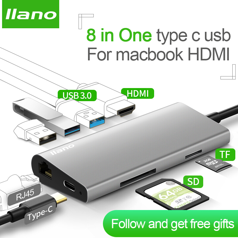 llano USB HUB USB C HUB to HDMI RJ45 PD Thunderbolt 3 Adapter for MacBook Samsung