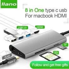 llano USB HUB USB C HUB to HDMI RJ45 PD Thunderbolt 3 Adapter for MacBook Samsung Galaxy S9/S8 Huawei P20 Pro Type-C USB 3.0 HUB 5 in 1 type c to hdmi 3 usb 3 0 hub adapter for macbook samsung galaxy s9 huawei p20 pro charger usb hub hdtv usb c cable data