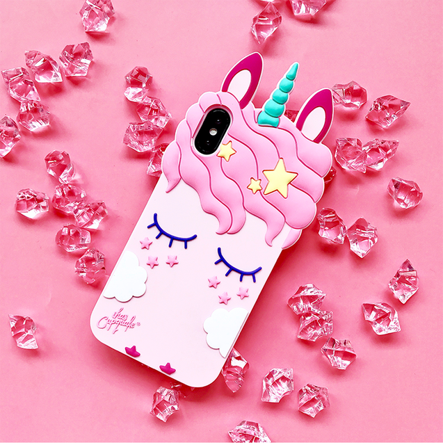 more photos 7ff02 e0d0d US $3.6 5% OFF|For iPhone 5S SE Unicorn phone Cases For iphone X 8 8plus 7  7plus 6 6S 6plus Cute Cartoon horse Soft back case cover girl case-in ...