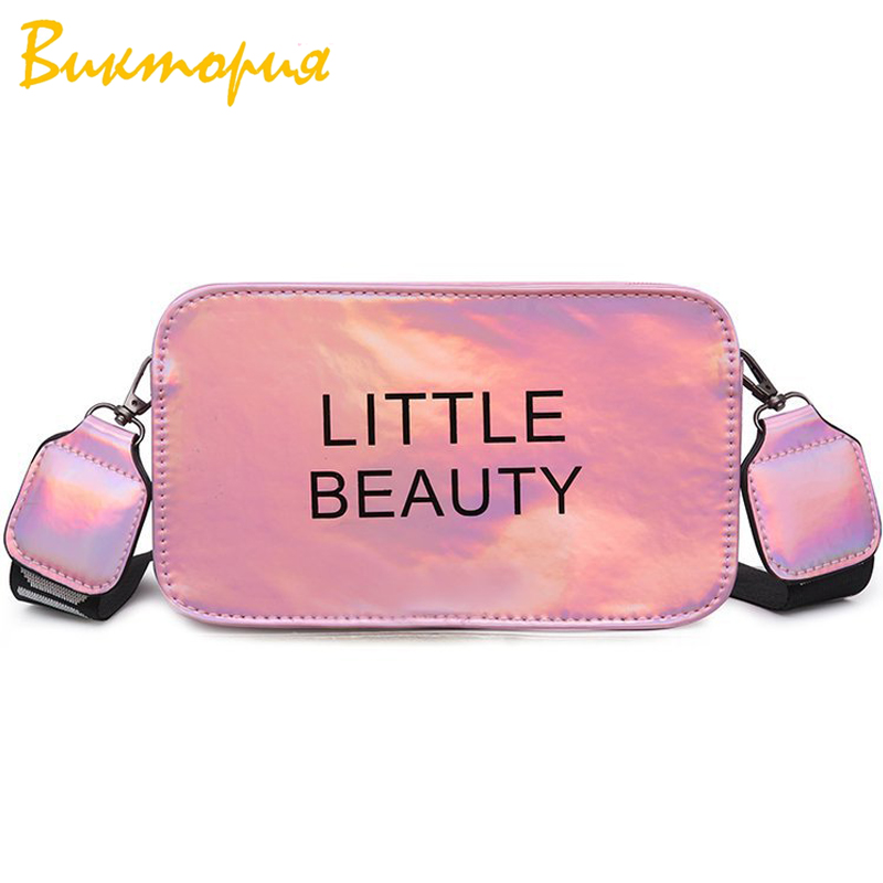 CHRAR brand fashion women's Shoulder Bags Personality Letter printing messenger bags Colorful Reflective surface Clutch