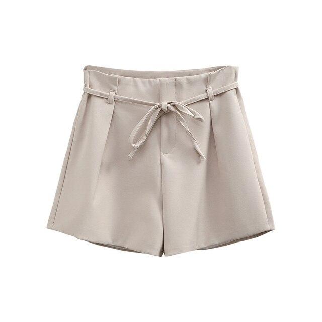64079cb2de Nuevo pantalones cortos de cintura alta de las mujeres de encaje ancho de  la pierna de Hotpants 2019 Primavera Verano ...