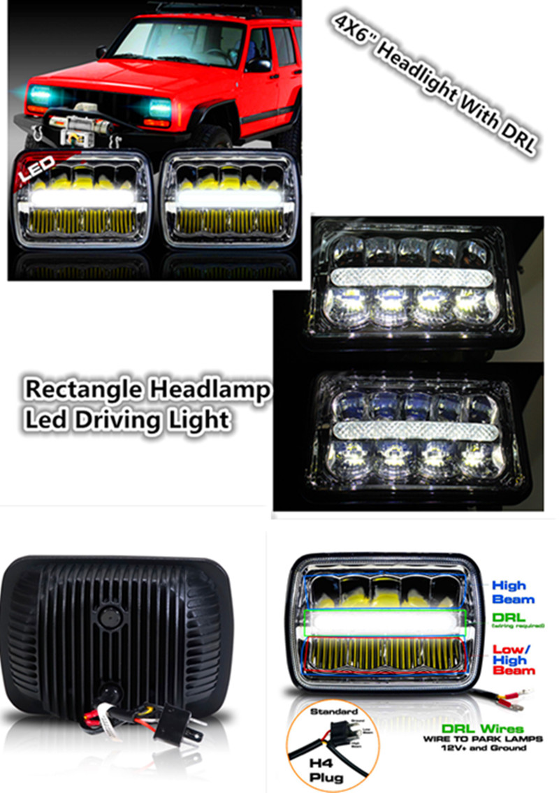 Offroad 4X6 inch Rectangle headlamp High Low Beam LED Head light led driving light 4x6 headlights for H4651/H4652/H4656/H4666/H6