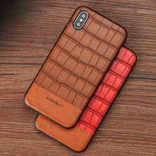 Wangcangli Bamboo pattern stitching Cowhide phone case for iPhone X Magnetic adsorption all inclusive protection