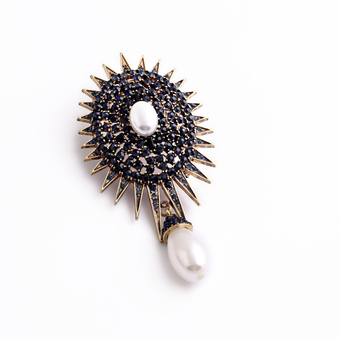 Kvinnor Vintage Big Crystal Simulerade Pearl Brosch Fashion Pin - Märkessmycken - Foto 4