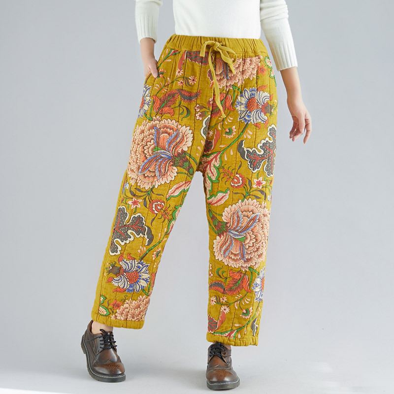 Johnature Brand Women Thick Straight Pants Print Floral Yellow Trouser 2019 Winter New Elastic Waist Vintage