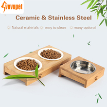 VOVOPET Cat Dog Pet Stainless Steel/Ceramic Feeding and Drinking Double Bowls Bamboo Frame cats dogs bowl