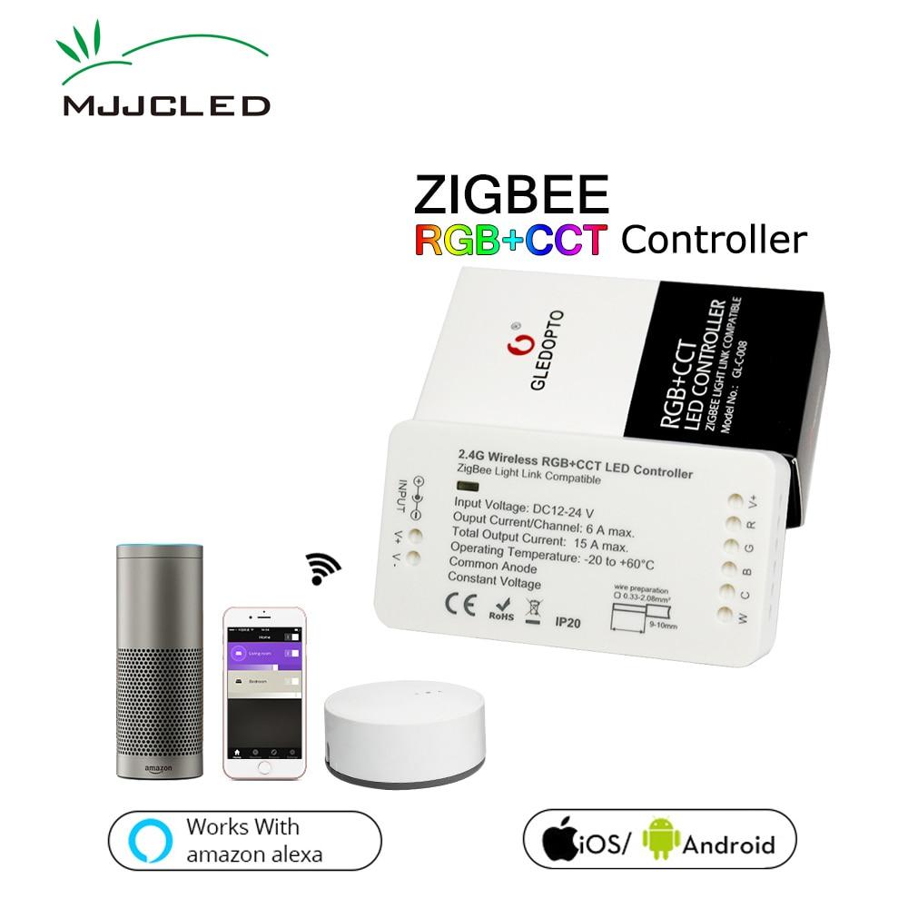 ZIGBEE LED Contrôleur Amazon Echo Lightify Tradfri Compatible LED Contrôleur RGB CCT WW CW Zigbee Contrôleur LED Dimmer