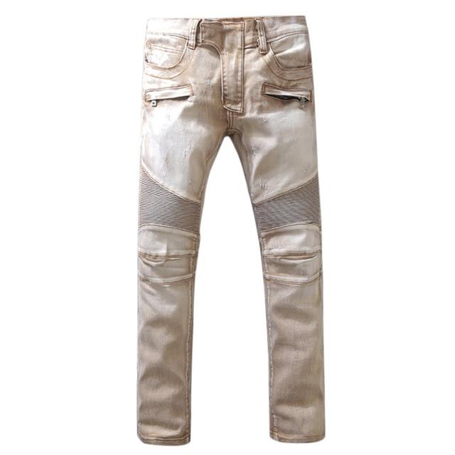 ddb50029088 2018 мужские брендовые байкерские джинсы модные тонкие обтягивающие джинсы  100% Высокое качество хлопок страх перед