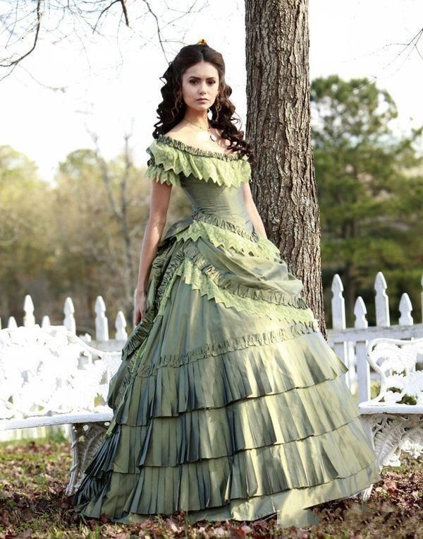 2018 Trouwjurk Vintage Victorian Quinceanera Corset Nina Dobrev Taffeta 15 Girl Pageant Katherine Vampire Diaries Ball Gown