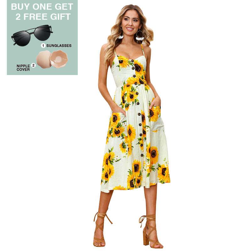 Сексуальное платье повседневное женское летнее платье Boho винтажное миди-платье с открытой спиной в горошек с цветочным принтом пляжное платье женская одежда # F