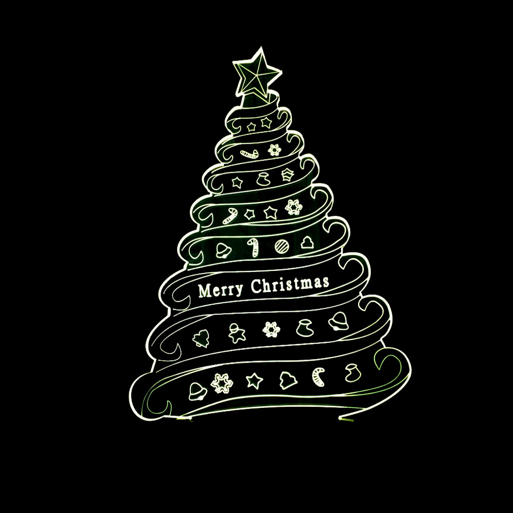 Christmas Tree 3D Night Light Merry Christmas USB LED Table Desk Lamp Home Decor Kids Bedroom Nightlight Creative Gift merry christmas ball tree print plus size sweatshirt