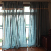 Export American style country retro 100% cotton lace curtain head curtain The finished curtain french window curtain