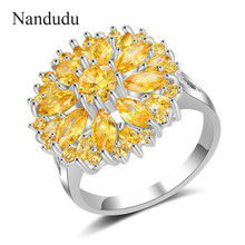 Nandudu High Level Yellow Cubic Zircon Ring Party Jewelry AAA Quality Gift for Women Fashion Design Accessories R1966(China)