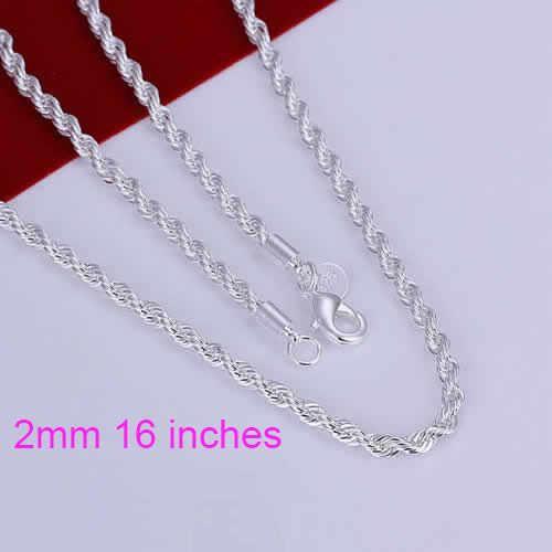 Gratis verzending 16-24 inch Mooie mode Elegante verzilverd Shine Twisted Lijn 2mm chain leuke Touw Ketting hanger SMTN226