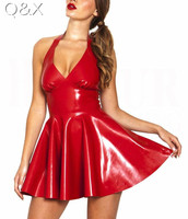 XX48 Sexy PVC Leather Latex Dress Red Shiny 2017 Halter Sleeveless Catsuit Erotic Bondage Pleated Dress