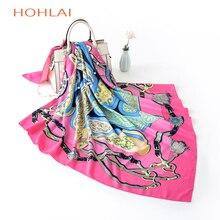 2018 quatro estações moda mulheres lenço luxuoso marca hijab sarja seda cetim lenço envoltório foulard quadrado 100x100