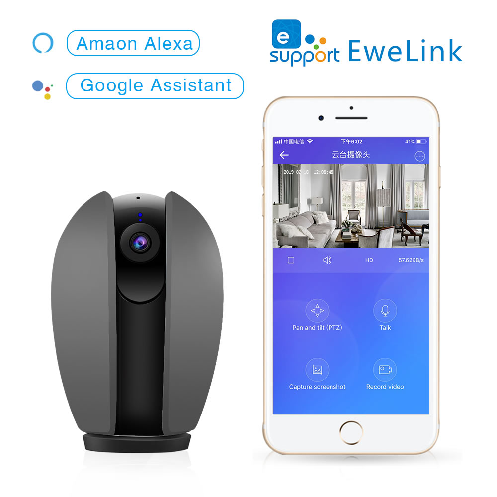 OPEN 360 Degree 1080P Wifi Camera Panorama View Two Way Audio Motion Detection by eWeLink APP