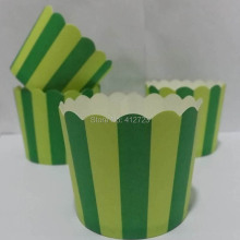 free shipping Paper Cupcake Mold Muffin/Baking Cup Birthday,Wedding Cake Decorate Cup DIY Baking Tools apple/deep green stripe