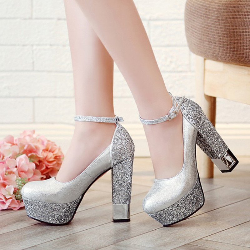 New Glitter Platform Shoes Women High Heels Bride Shoes Strap Red Shoes Wedding Women Pumps Comfort High Heels Pumps 12cm high heels european grand prix 2015 new winter bride wedding high heels nightclub wild pointed high heeled shoes women pumps page 6