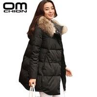 OMCHION 2019 Autumn Winter Jacket Women Coat Raccoon Fur Collar Hat Long Sleeve Outwear Plus Size Thick Cotton Parka LJK18